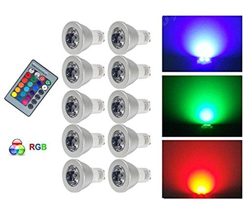 G-Anica Lot de 10 GU10 RGB Ampoule LED 3W 16 Couleurs Changement RGB LED Bulb 250-270LM LED avec Télécommande à Boutons AC95-240V [Classe énergétique A+]