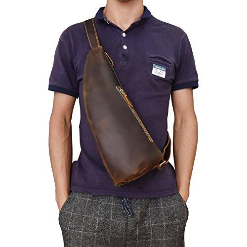 LUUFAN Herren Vintage Echtes Leder Sling Bag Brust Schulter Rucksack Umhängetasche für Männer Frauen (Dark Brown)