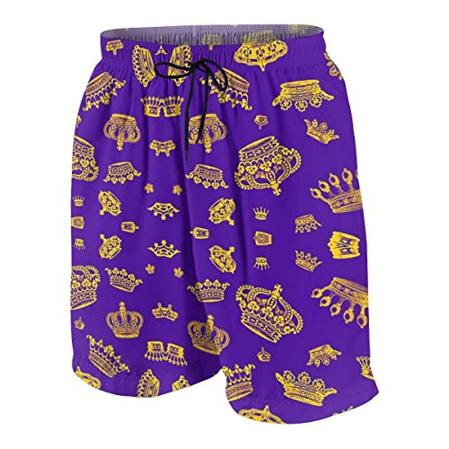 vcbndfcjnd Royal Crowns - Gold On Purple Boys Beach Shorts Quick Dry Beach Swim Trunks Kids Swimsuit Beach Shorts,Boys' Assist Basketball Shorts M