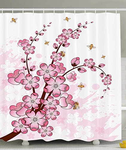 KRISTI MCCARTNEY Plants and Parks Decorations Collection, Abstract Artwork of Cherry Sakura Tree Leaves Flowers and Bees, Polyester Fabric Bathroom Shower Curtain Set with Hooks, Pink White