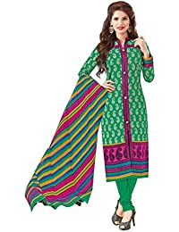 Baalar Women's Cotton Dress Material (1421_Free Size_green)