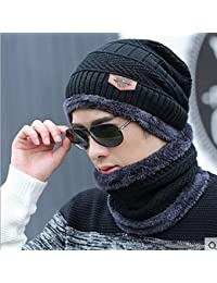 AlexVyan Unisex Woolen Beanie Cap and Neck Scarf Set (Black, Regular)