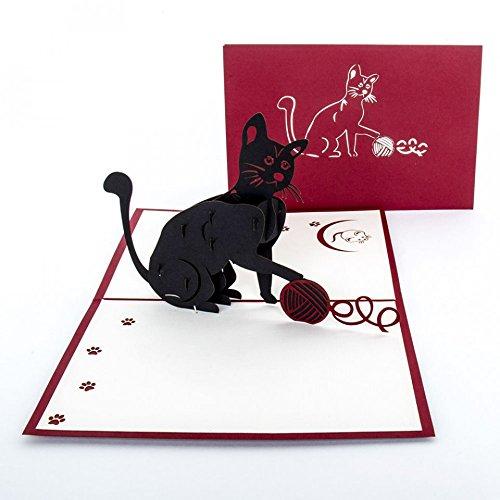 """Pop-Up Karte """"Black Cat"""" – 3D Katzenkarte, Gutschein, Einladung Geburtstagskarte für Katzenliebhaber"""