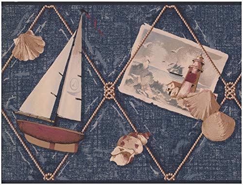 York Wallcoverings Segelboot Ancor Shell Leuchtturm Denim Blue nautischen Wallpaper Border Retro-Design, Roll-15' x 10