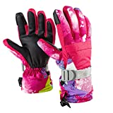 Diswoe Ski Gloves for Men Women, Unisex Waterproof Warm Snowboard Cycling Snowmobile Winter Thermal Gloves Zipper Pocket for Outdoor Downhill Skiing (Red, L)