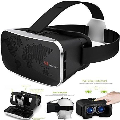 Semoss Universale VR Occhiali 3D Realtà Virtuale per 3.5-6.0 Pollici iPhone X Galaxy S8 S7 Edge S6 S5 S4 A3 J3 J5 J7 Note Huawei Occhiali VR Virtual Reality,Occhiali Virtuali 3D,VR Glasses Black