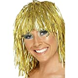 Lametta Perücke Disco Damenperücke gold Glamour Lamettaperücke Glitzerperücke Karnevalsperücke