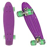 55cm Mini Cruiser board Retro Skateboard mit LED Leuchtrollen und Aluminium Trucks ABEC-7 Classics
