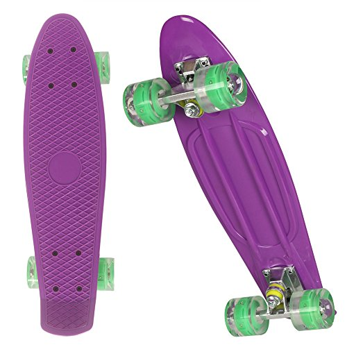 55cm Mini Cruiser board Retro Skateboard mit LED Leuchtrollen und Aluminium Trucks ABEC-7 Classics