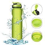 Acelec Wasserflasche Sport Wasserflasche (1L/36oz) auslaufsicher BPA frei wiederverwendbare umweltfreundliche einfach tragen Sport Trinkflasche für Camping, Wandern, Radfahren, Reisen große fließende Wasserflasche (Grün 1000ml)