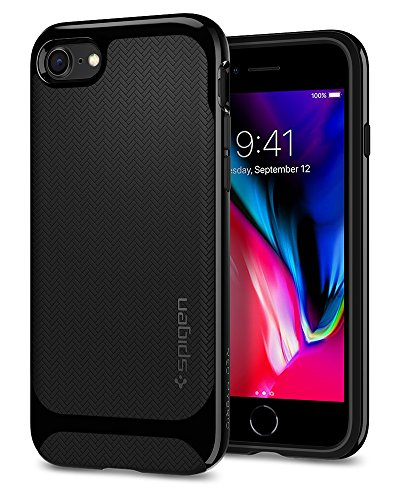 [Sponsored]Spigen Neo Hybrid Herringbone Case For IPhone 8 (2017)/iPhone 7 (2016) - Shiny Black 054CS22200