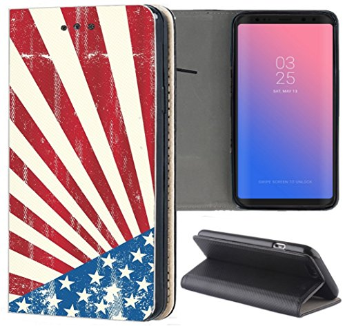 Apple iPhone 5 / 5s / SE Hülle Premium Smart Einseitig Flipcover Hülle iPhone 5 / 5s Flip Case Handyhülle Apple iPhone 5 Motiv (140 USA Flagge Blau Weiß Rot)