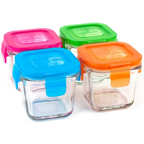 Wean Green Wean Green Wean Cubes 4oz/120ml Baby Food Glass Containers Multi Color