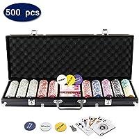Display4top Set de Poker 500 jetons Laser Haute qualité 12 g Noyau en Métal,Noir avec étui en Aluminium, 2 Jeux de Cartes, revendeur, Petit Store, Gros Boutons aveugles et 5 Dés