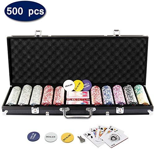 Display4top Pokerkoffer 500 Chips Laser Pokerchips Poker 12 Gramm , 2 Karten, Händler, Small Blind, Big Blind Tasten und 5 Würfel, Schwarz mit Aluminium-Gehäuse