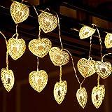 Guirnalda de Luces de Corazón de Amor de 20 LED Funcionado con Batería Luces Decorativas 10,76 Pies Blanco Cálido para Decoración de Patio Jardín Fiesta Boda (Batería no Incluida)