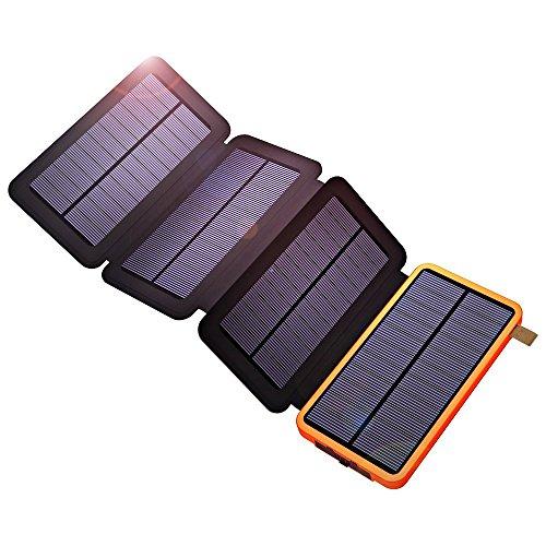 X-dragon solare power bank 10000mah caricatore solare portatile con pannello solare pieghevole robusto usb doppio antiurto per iphone, ipad, samsung, huawei, smartphone, tablets-arancia