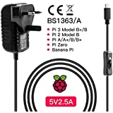 ABOX Raspberry Pi 3 B+ Power Supply 5V 2.5A With ON OFF Switch UK Version Micro USB Power Adapter 1.5M for Raspberry Pi 3, Pi 2, Android phones