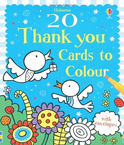 20 Thank You Cards to Colour