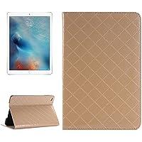 Tavoletta Custodie & Cover, Custodia in pelle luminosa griglia di struttura della pelle Ribaltamento orizzontale con il supporto di carta &Slots e portafoglio per iPad Pro 12,9 pollici ( Colore : Oro )