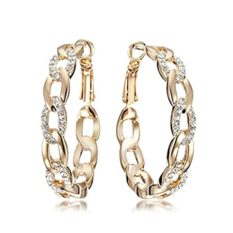 Gemini Women's Jewelry 18K Yellow Gold Filled CZ Diamond Hoop Pierced Earring Valentine's Day Gifts Gm039Wg 1.5 inches