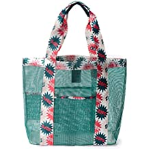 Juboury Mesh Strandtasche auch ideal als Badetasche, Einkaufstasche, Trainingstasche, für Ausflüge zum Strand, beim Einkaufen und bei Outdoor Aktivitäten