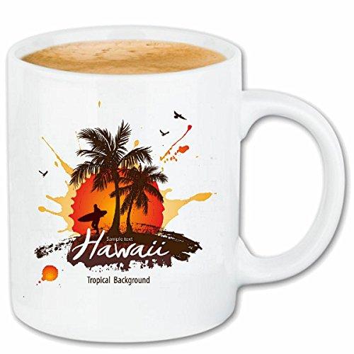 Reifen-Markt Kaffeetasse Hawaii Vintage SURFEN Beach Surfbrett Longboard Wellenreiten Wellen...