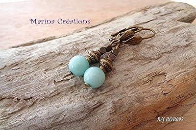 Boucles d'oreilles dormeuses bronze Nature en amazonite turquoise