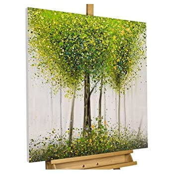 Handgemalte Bilder Auf Leinwand kunstloft acryl gemälde greenish glade 80x80cm original