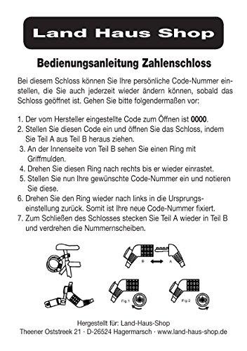 Land-Haus-Shop® Fahrradzahlenschloss 65 cm, Stahlseil ummantelt, Fahrrad Zahlen Schloss Pink