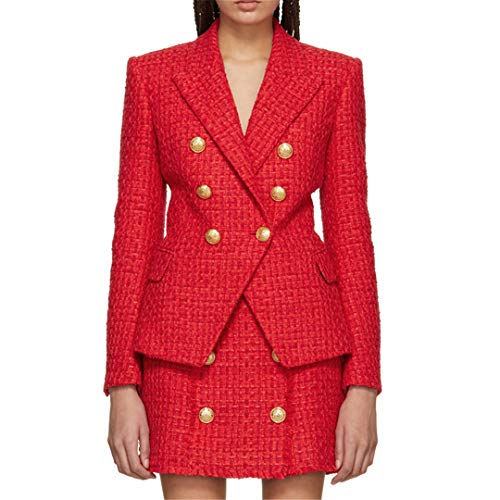 DBLAZJ&EBLAZC Fall Winter Blazer Jacket Women's Lion Buttons Tweed Wool Blazer Coat M Double Breasted Tweed Coat