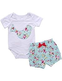 SMARTLADY Niñas Bebé Monos de de manga corta + Pantalones cortos de Floral