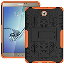 DWay Tablet Custodias Tab S2 8.0 T710 Hybrid Armor Design with Stand Feature Detachable Dual Layer Protective Shell Hard Back Custodias Cover per Samsung Galaxy Tab S2 8.0inches SM-T710 / T715 (Orange)
