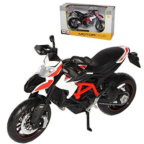 Spielzeug Motorrad Ducati (Ducati Hypermotard SP 2013 Weiss Rot 1/12 Maisto Modell Motorrad mit individiuellem Wunschkennzeichen)