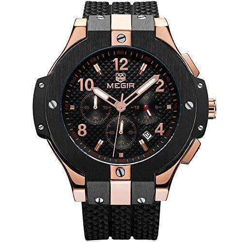 MEGIR Männer Armee Sport Quarz Uhren Silikonband Wasserdichte Armbanduhr für Mann Rose Gold - Vintage-rose-taste