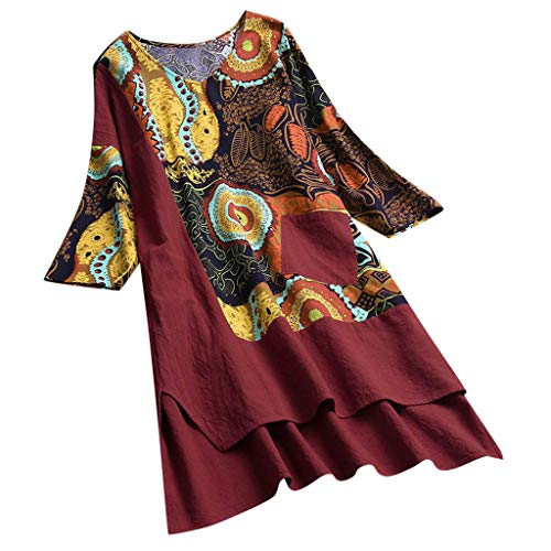 Männer Wolle Kleid Hose (Malloom-Bekleidung Women Vintage Patchwork Dress High Low Hem Boho Print Half Sleeves Pocket Dress Lässiges Kleid Aus Baumwolle Und Leinen Mit Losen Böhmendrucknähten Und Halben Ärmeln)