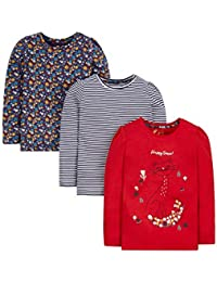 Mothercare Girls' Floral Regular Fit T-Shirt (Pack of 3)