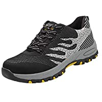 Men Mesh Breathable Sneakers Non-slip, Male Steel Toe Work Shoes Safety Shoes Casual Sport Shoes