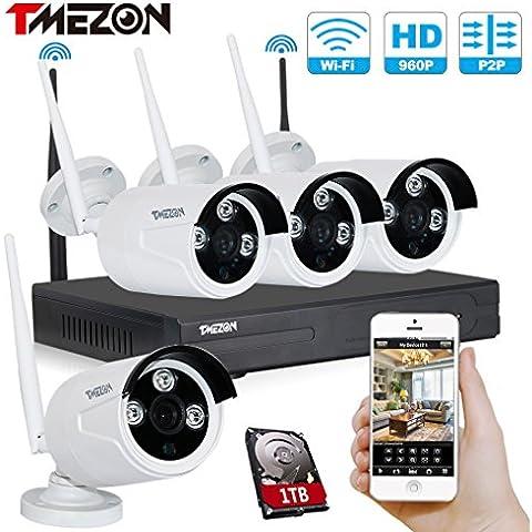 Tmezon 4 canales HD 720P Inalámbrico Sistema de cámaras de seguridad de la vigilancia,4x1.3mp 960P del IP de Wifi Wireless cámara al aire libre Kit de NVR Grabador Asistencia para el smartphone monitor remoto,1TB disco duro