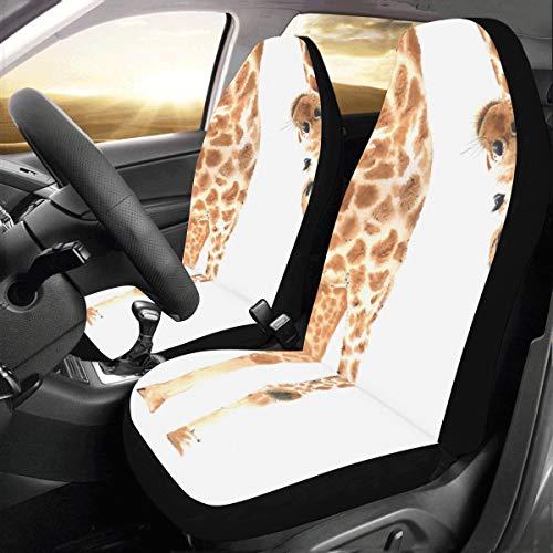 Aussehend Giraffe Benutzerdefinierte Fit Auto Drive Autositzbezüge Protector Für Frauen Automobil Jeep LKW SUV Fahrzeug Full Set Zubehör Für Erwachsene Baby (Set Von 2 Front) ()