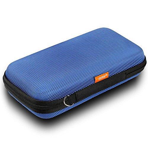 Portable Schutz Hard Eva Case für externer Akku, Handy, GPS, Festplatte, USB/Ladekabel, Tragetasche Mesh Innentasche, Reißverschluss Gehäuse N Robuste Außenseite, Universal Reise Tasche blau Case Bluetooth Gps