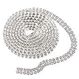Homyl 1 Yard Strassband Strass Borte Diamant Band Kristall Band als Applikation zum Nähen und Bügeln, Silber