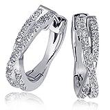 Goldmaid Damen-Creolen Ohrringe Linien 585 Weißgold 60 Diamanten 0,24ct