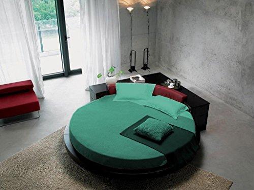 'SCALABEDDING rund Bettlaken mit Kissenbezüge 400TC 100% ägyptische Baumwolle King 96Durchmesser Solide blau grün -