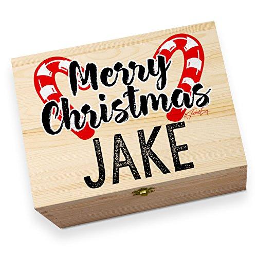 personalisierbar Weihnachten Candy Cane Holz bedruckt Christmas Eve Box