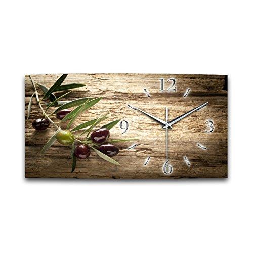 Kreative Feder Olive XXL Natur Küchenuhr Designer leise Funk Wanduhr Funkuhr modernes Design OHNE Ticken * (50x25cm Funkuhr)