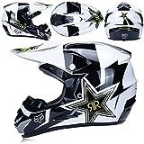 Alvyu Off-Road Motorrad Racing Helm, Vollgesichtsdämpfung Durable Motorsport Helm, MX ATV Motorradhelm für Junge Mädchen,A,XL
