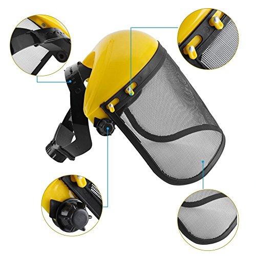 Visor de protección con malla, máscara, Casco de seguridad con visera de malla ajustable para motosierra...