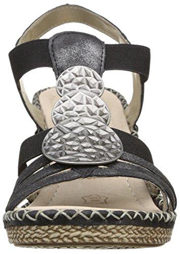 Remonte D6747 Damen T-Spangen Sandalen mit Keilabsatz Schwarz (graphit/schwarz/01)