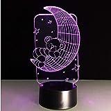 3D Nachtlichter Nachttischlampe Beleuchtung Led Baby Zimmer Lampe 3D Bär Auf Mond Stern Farbwechsel Nachtlicht Cartoon Tischlampe Neuheit Weihnachten Geschenke